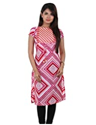 Barbie Pink Polyester Printed Kurta From ESTYLe