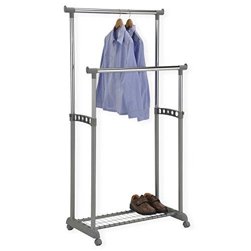Garderobenwagen-Kleiderstnder-Rollgarderobe-Garderobenstnder-GROSSO-mit-Schuhablage-2-Kleiderstangen-hhenverstellbar-Metallrohr-verchromt