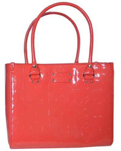 Cheap Kate Spade Coral Patent Leather Quinn Tote Handbag - Embossed Ace of Spades Collection