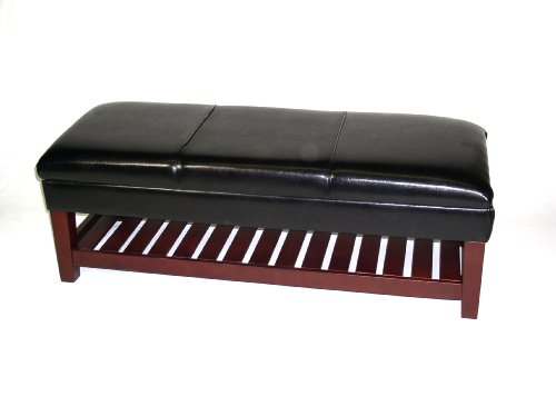 4D Concepts Large Faux Leather Bench with Lift Top, Black