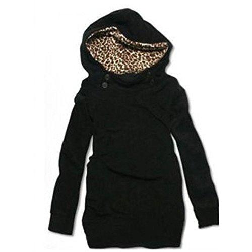 SODIAL (R) Donne Felpa Con cappuccio Leopard Tops Camicette Maglione Cappotto Pullover Nero XXL