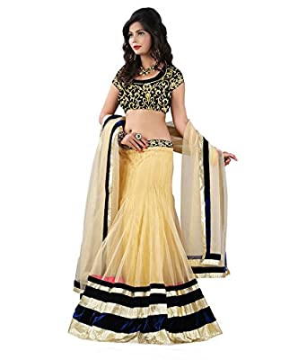 Astha Fashion Party Ware Embroidery Work Lehenga(Beige and Black_Free Size)