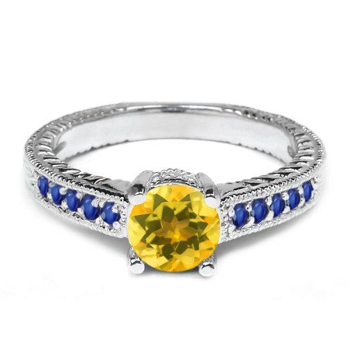 0.35 Ct Round Yellow Citrine Blue Sapphire 925 Sterling Silver Engagement Ring
