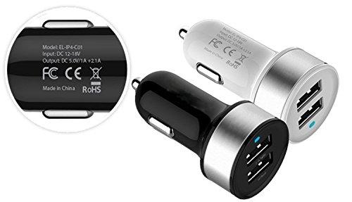 Mini Dual USB Auto Ladegerät 5 V 3,1 A/15 W hohe-Geschwindigkeit für iPhone 5S/5C, iPad/Mini, Galaxy S4/S3/Note 2/3, Nexus, iPod, Android Geräte die, die iPhones, Smartphones & Tablets mit Trageetui - Schwarz