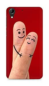 Amez designer printed 3d premium high quality back case cover for HTC Desire 728 (Finger art cute couple)