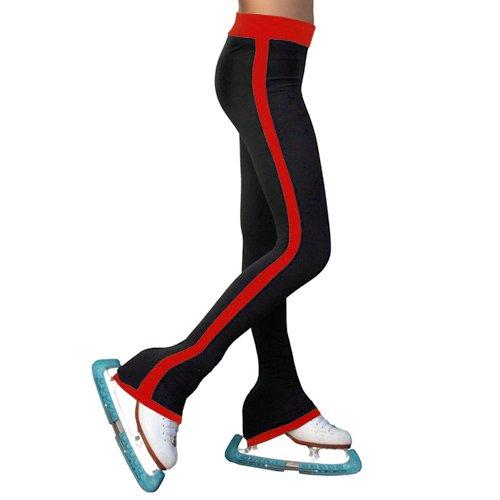 ChloeNoel Girls Red Side Striped Ice Skating Pants 6-12 Adult XS-L