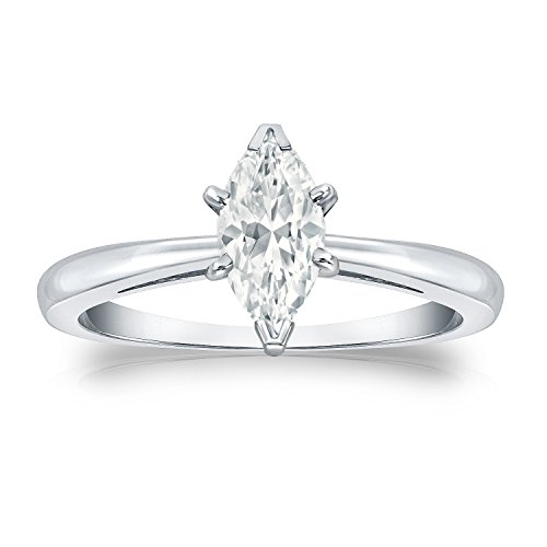 18K White Gold Marquise Diamond Ring V-End Prong (1/2 Cttw, G-H Color, Vs2-Si1 Clarity)