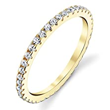 buy Solid 925 Sterling Silver 14K Yellow Gold Plated Stackable 0.50 Carat Tw Ring Micro Pave Wedding Band Eternity Cubic Zirconia Diamond