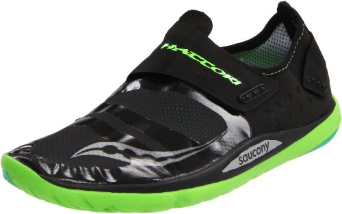 Saucony Men's Hattori Running Shoe,Black/Slime Green,8.5 M US