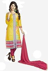 Khushali Presents Chudidar Dress Material(Yellow,Pink)