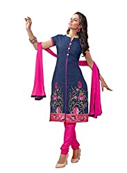 Blissta Blue Chanderi Embroidered Salwar Suit Dress Material