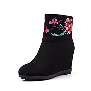 yBeauty Women's Wedge Booties Zipper Ankle Boots High Heel Flower Embroidered Booties Round Toe Shoes Suede Black US7.5