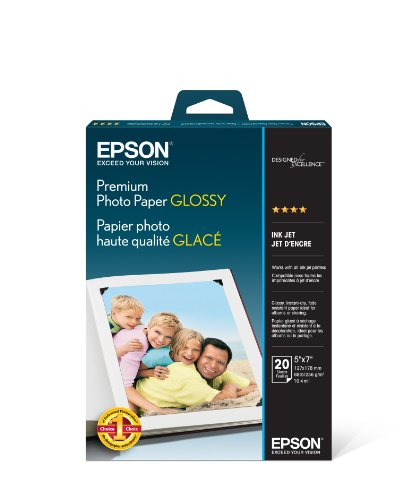 Epson Premium Photo Paper GLOSSY (5×7 Inches, 20 Sheets) (S041464)
