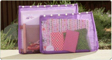 Namaste Oh Snap XL Set 2 Eggplant Purple Mesh Sewing Knitting Crafts Tote Bags by Namaste