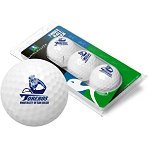 San Diego Toreros Top Flite XL Golf Balls 3 Ball Sleeve (Set of 3) by LinksWalker