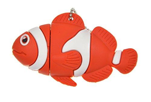 FEBNISCTE 8GB USB3.0 Flash Drive - Cute Animal Collection Red Fish Clownfish Keychain