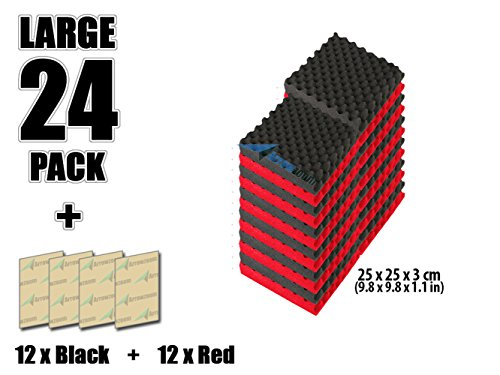 super-dash-lot-de-24-de-25-x-25-x-3-cm-combinaison-rouge-noir-insonorisation-egg-crate-acoustique-di
