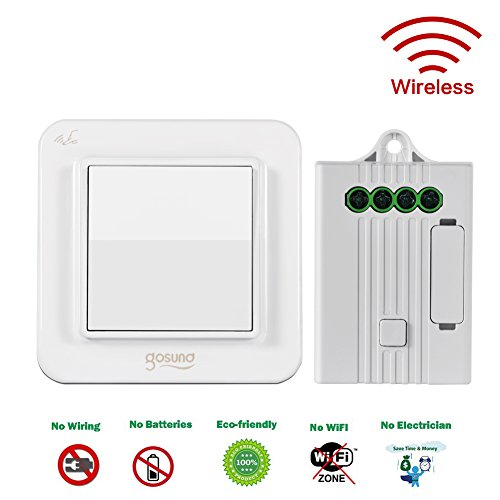 Gosund S1-W Wireless Switch Self-powered Kinetic Energy Technology 160 Meters Range Remote Control with Receiving Controller Wireless Household Lighting Easy DIY (Motion Sensor Wifi Light Switch compare prices)