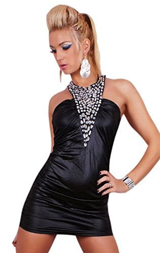 Saphira mode. Sexy Mini Kleid Leder Wet Look Strass schwarz