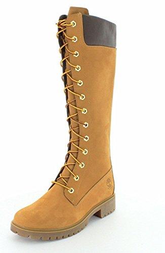 "Timberland Premium 14"" Inch Side-Zip Lace Waterproof Women's Boots 8633A Wheat Nubuck 10 M US"