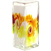 Kitras Art Glass Van Glow Floral Blown Glass Vase - Lime & Amber Gold Swirls