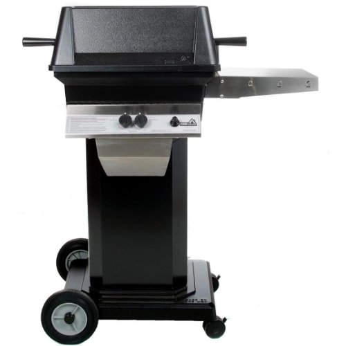 PGS Gas Grills A30 Cast Aluminum Propane Gas Grill On Black Portable Pedestal Base