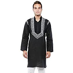 BDS Chikan male's Cotton Kurta With Lucknow Chikan Work_BDS00029_Black