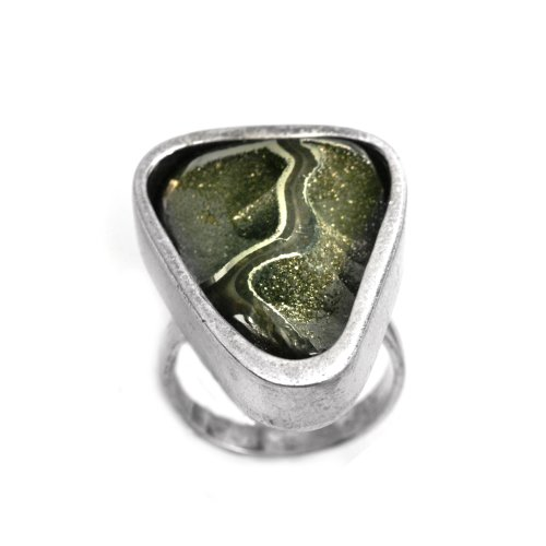 Magic Pyrite and Sterling Silver One of Kind Triangular Mystical the Road to the Moon Ring Size 9