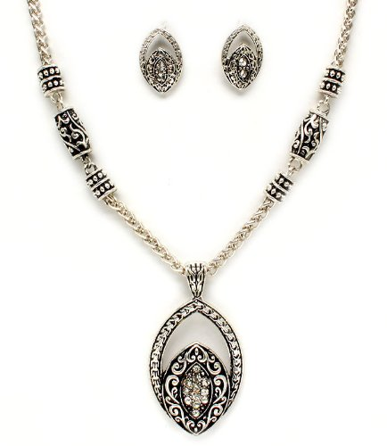 Engraved Pattern Almond Shaped Crystal Earrings & Necklace Set
