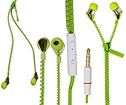 JIYANSHI stylish zipper earphone green Compatible with Microsoft Lumia 435