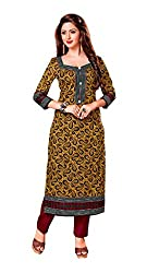 AMP IMPEX Ethnicwear Women's Dress Material Yellow Free Size