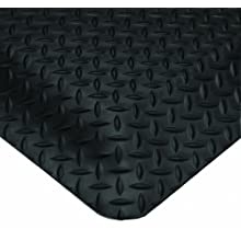 Wearwell PVC 497 Smart Diamond-Plate Medium Duty Anti-Fatigue Mat, Tapered Edges, for Dry Areas, Black