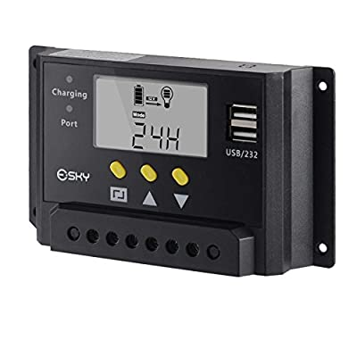 Esky 30A LCD 12V/24V 360W/720W PWM Solar Panel Adapter Charge Controller