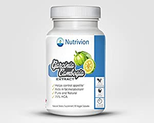 Nutrivion Garcinia Cambogia Extract 75% HCA All Pure and Natural Appetite Suppressant