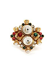 Bindhani Ethnic & Traditional Gold Plated Maroon And Green Stone Adjustable Ring For Women - B00POY8C02