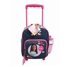 African American Barbie Blue Jean 12″ Toddler (Medium Sized) Rolling Backpack w/ Water Bottle