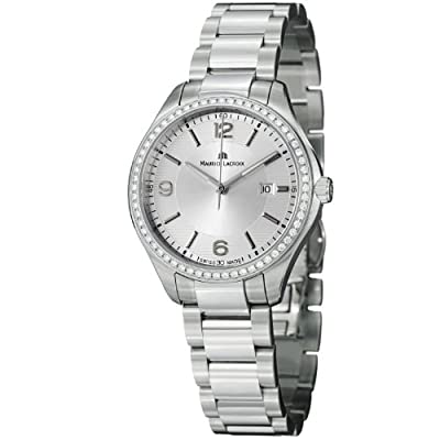 Maurice Lacroix Miros Ladies Silver Dial Stainless Steel Diamond Watch MI1014-SD502-130