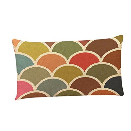 [해외]Ikevan 레트로 기하학적 패턴 여러 가지 빛깔의 사각형 Pillowcases는 베개 쿠션 커버 소파 집 장식, 리넨 블렌드, 12 x 20을 던져/Ikevan Retro Geometric Pattern Multic