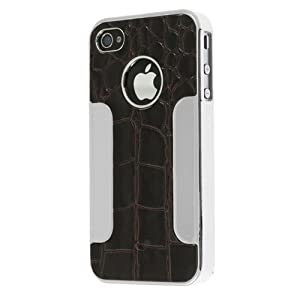 Chromo Inc® Aligator Leather Aluminum Case Cover For Apple iPhone 4 4S AT&T Verizon - Black