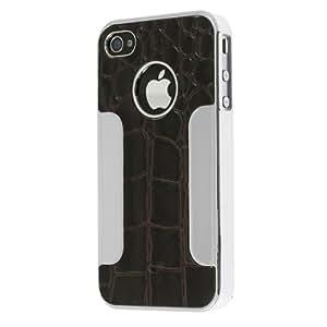 Chromo Inc® Aligator Leather Aluminum Case Cover For Apple iPhone 4 4S AT&T Verizon - Black