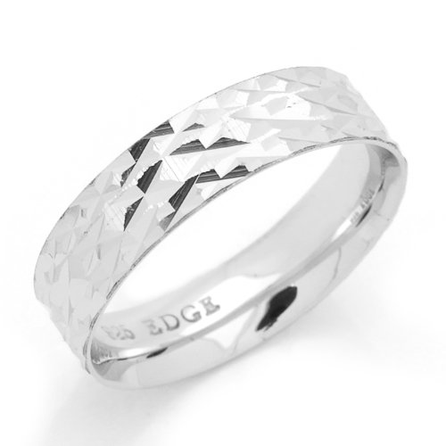 Sterling Silver Wedding Band 4MM Diamond-Cut Patterned Comfort Fit Ring - Size 6
