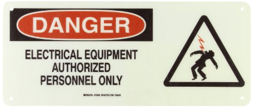 "Brady 70306 17"" Width X 7"" Height, B-120 Premium Fiberglass, Black And Red On White Electrical Hazard Sign, Header ""Danger"", Legend ""Electrical Equipment Authorized Personnel Only"" (With Picto)"