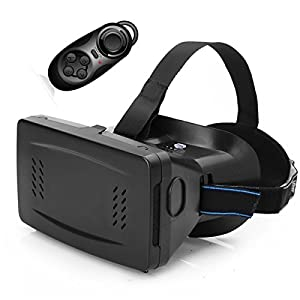 Ctronics® Riem II Google Cardboard Head Mount Plastic Version Virtual Reality Magnet VR Mobile Phone IMAX 3D Glasses 3D Movies Games with Bluetooth Wireless Mouse Gamepad for 3.5 to 6 inch Smartphone by Ctronics