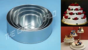 4 Tier Round Multilayer Wedding Birthday Anniversary Baking Cake Tins Cake Pans 6 8 10 12... by EURO TINS