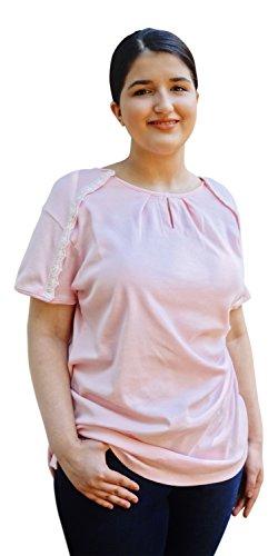 Blossom Breeze (TM) Post Surgery Wear   Womens T-Shirt   XXL Blossom Pink