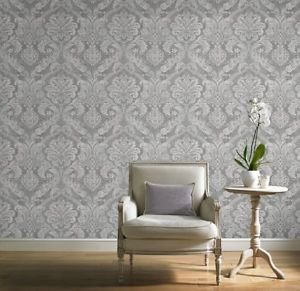 Gran Deco Paradise Damask Wallpaper - Silver from New A-Brend
