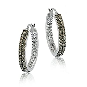 Champagne Diamond Two Row Hoop Earrings