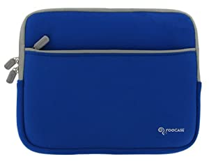 RooCase Packard Bell 11.6 Inch Dot M Netbook Neoprene Sleeve Case Invisible Zipper Dual-Pocket - Dark Blue