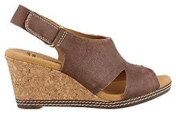 Clarks Women\'s Helio Float Wedge Sandal, Brown Suede, 11 M US