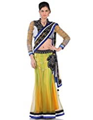 Chhabra555 Green Net One Minute Saree - B00J4RPCYE